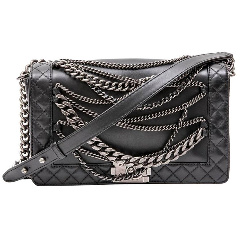 CHANEL 'Multi Chains' Boy Bag in Black Smooth Lambskin