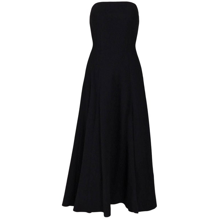 Atelier Versace Black Minimalist 1950s Style A-line Strapless Dress, Circa 1999 For Sale