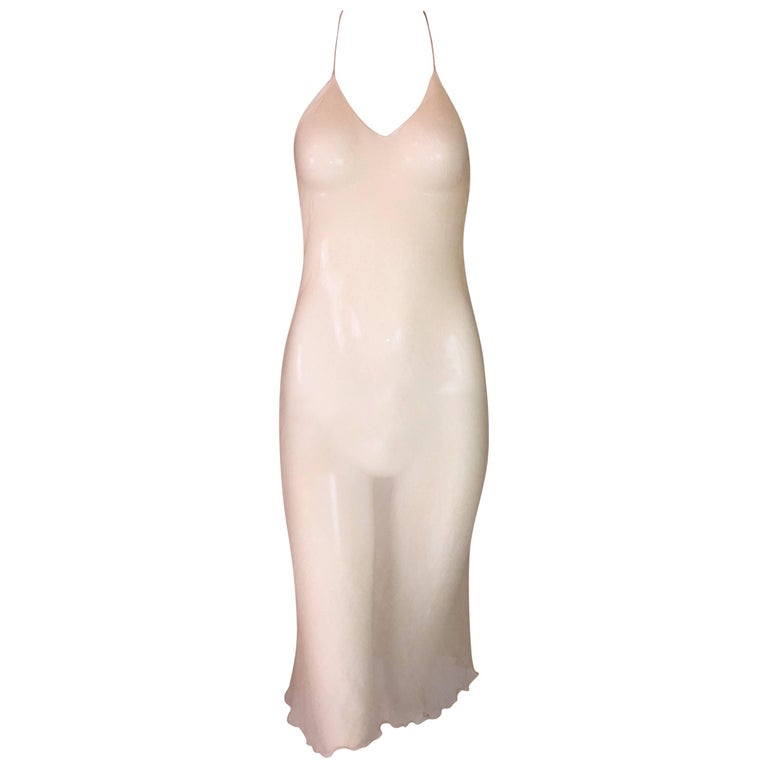 1990's Fendi by Karl Lagerfeld Sheer Peachy Nude Silk Halter Dress