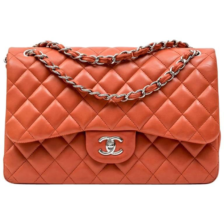 0f6c6d1f48fb CHANEL Jumbo Double Flap Bag in Coral Quilted Smooth Lamb Leather For Sale
