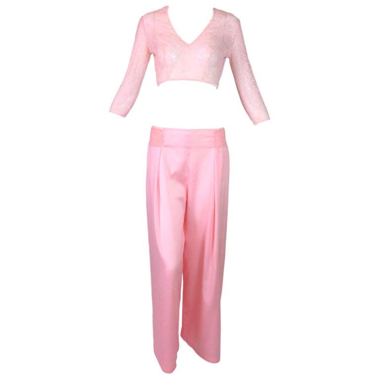 Christian Dior Vintage Sheer Baby Pink Lace Crop Top Wide Leg Pants Set, 1970s