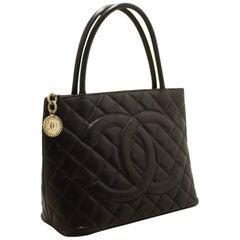 CHANEL Caviar Silver Medallion Shoulder Bag Black Leather Tote