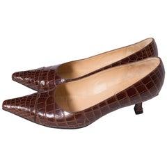 Delage Handmade Brown Croc Kittenheel Shoes