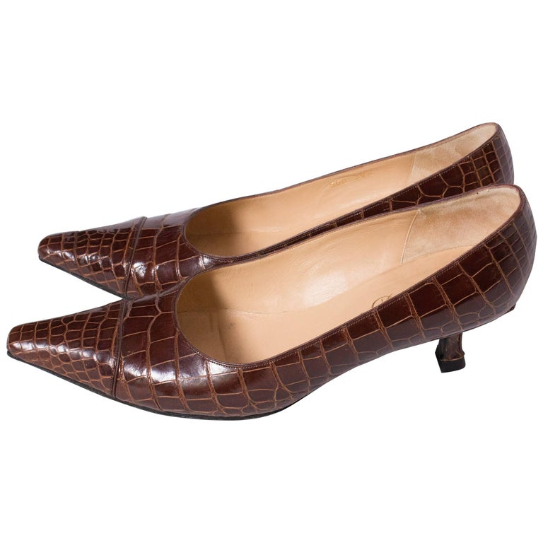 Delage Handmade Brown Croc Kittenheel Shoes