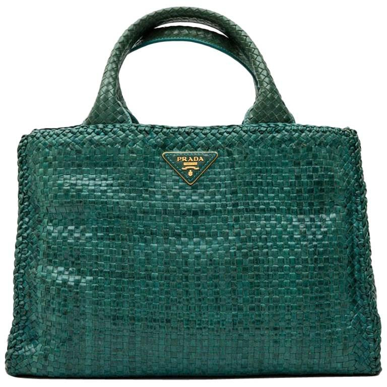 6de44842d7bbcc ... buy pursestop handle bags. prada madras shopping bag in peacock green braided  leather 7a9bd 498b0 ...