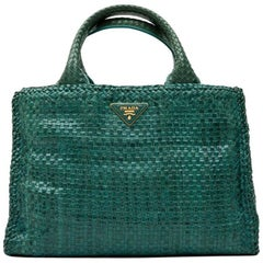 PRADA 'Madras' Shopping Bag in Peacock Green Braided Leather