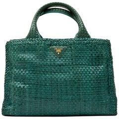 PRADA 'Madras' Shopping Bag in Peacock Green Braided Leather