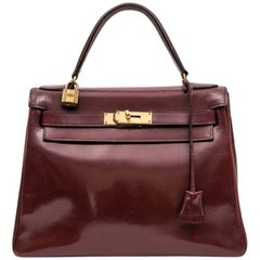HERMES Kelly 28 Vintage Bag in 'H' Red Box Leather