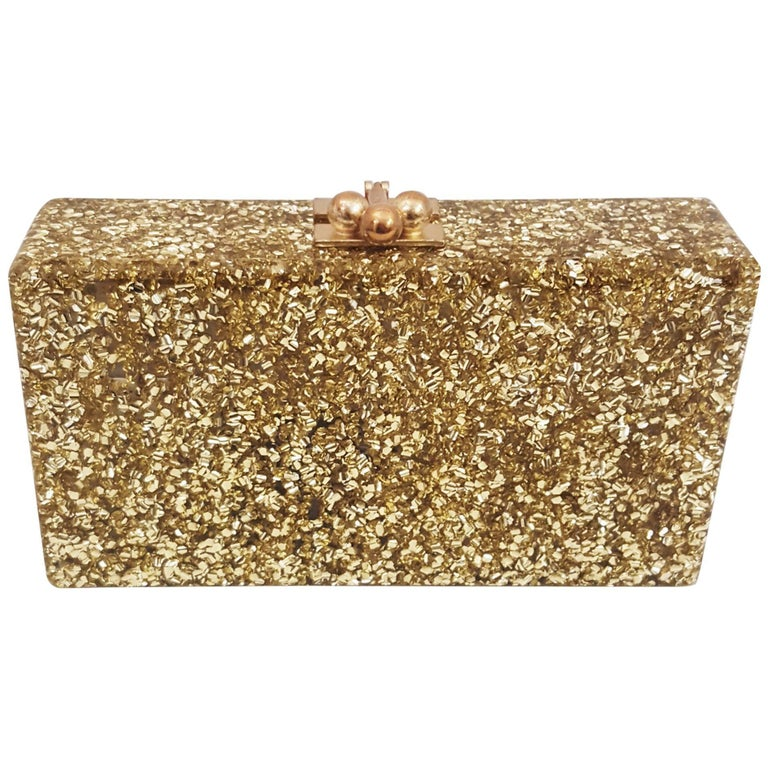 Exceptional Edie Parker Lara Confetti Metallic Gold Tone Clutch