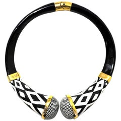 Tom Ford Black and White Tribal Choker Necklace