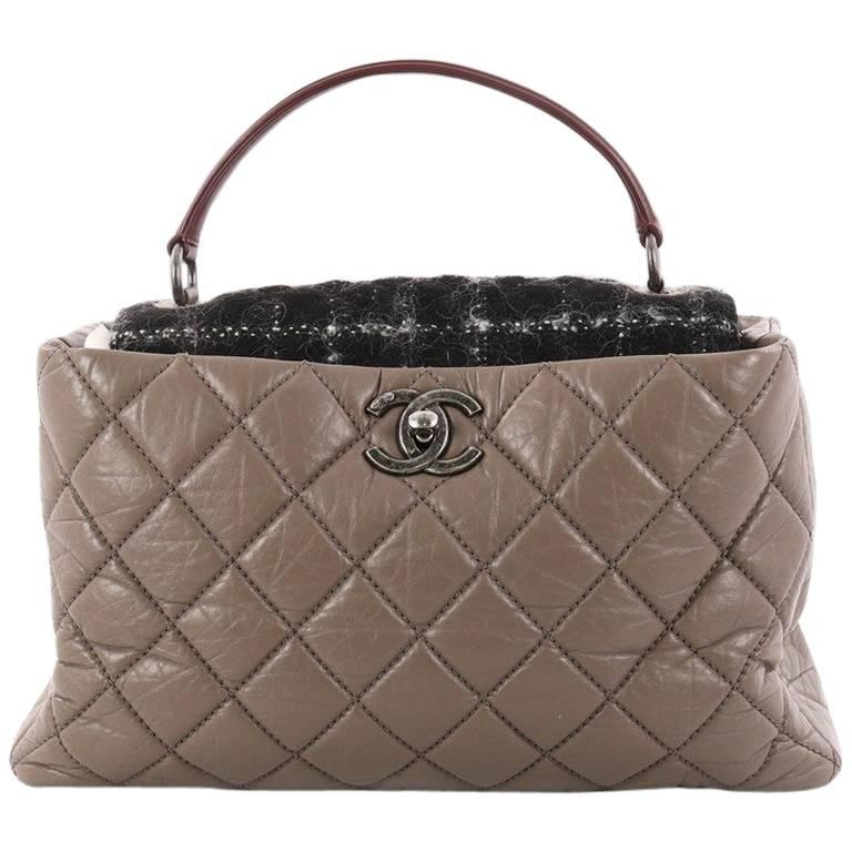 da497b8bc19a Chanel Portobello Top Handle Bag Quilted Aged Calfskin and Tweed Large at  1stdibs
