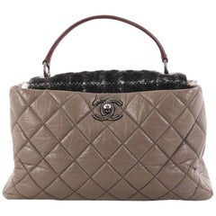 Chanel Portobello Top Handle Bag Quilted Aged Calfskin and Tweed Large