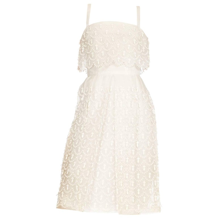 1960s Courreges Haute Couture Embroidered White Lace Dress