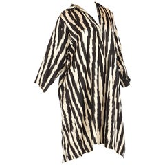 Handwoven Silk Ikat Black And White Long Sleeve Tunic Dress