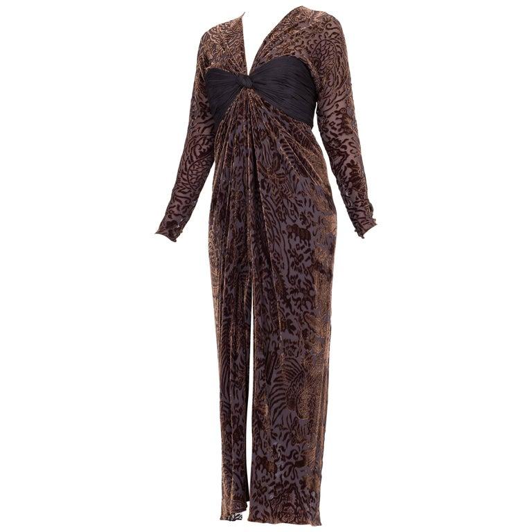 Oscar De La Renta Dark Purple Burnout Velvet Chiffon Draped Gown