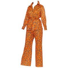 Orange and Brown Floral Mod Disco Pantsuit Set, 1970s