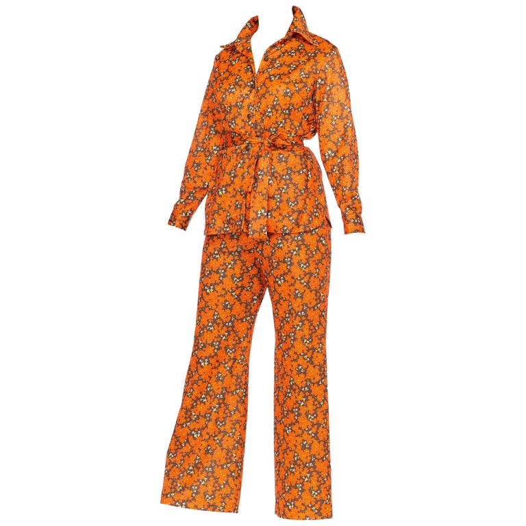 Orange and Brown Floral Mod Disco Pantsuit Set, 1970s