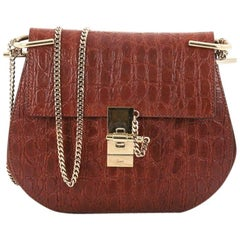 Chloe Drew Crossbody Bag Crocodile Embossed Leather with Suede Small