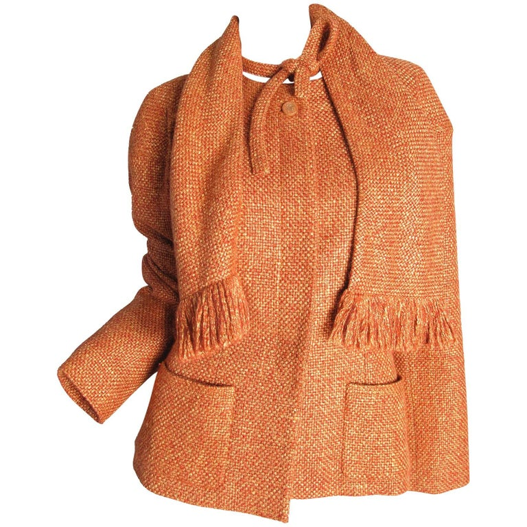 Chanel Rust Basket Wool Jacket with Matching Scarf