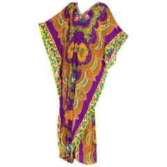 Boho Floral Paisley Kaftan with Ribbon Mirror Trim, 1970s