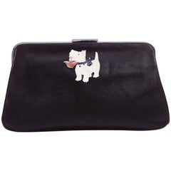 Vintage 1940s Black Leather Novelty Clutch Bag With Scottie Dog Detail