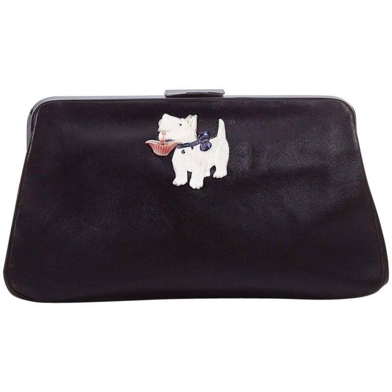 Vintage 1940s Black Leather Novelty Clutch Bag With Scottie Dog Detail