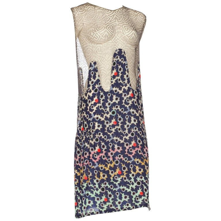 Modernist Beaded Lamé Lace Dress, 1920s