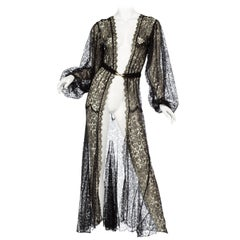 1930s Sheer Black Lace Bishop Sleeve Robe