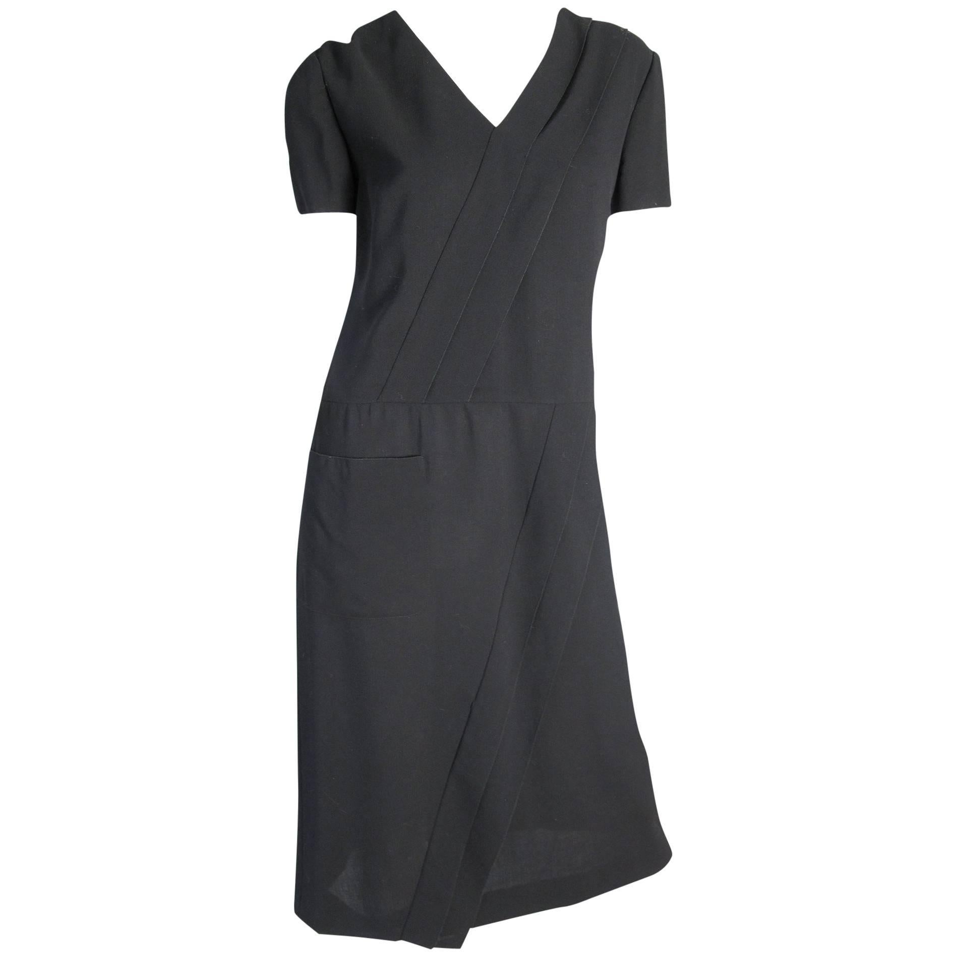 Chanel Black Dress with Diagonal Trim