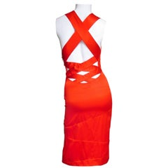 1990s Versace Bodycon Plunge Front Cross Back Dress