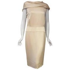 Awesome Alexander McQueen Cowl Neck Beige Hammered Silk Sleeveless Dress