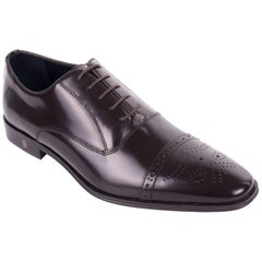 Versace Collection Brown Polished Leather Wing Tipped Oxfords