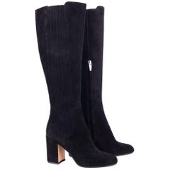 Gianvito Rossi Black Suede Side Panel Asymmetrical Tall Boots