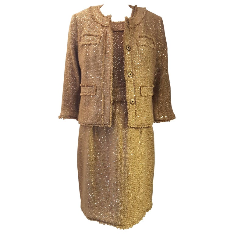 Magnificent Michael Kors Tweed  Two Piece Dress Suit Rose Gold Tone Sequin  For Sale