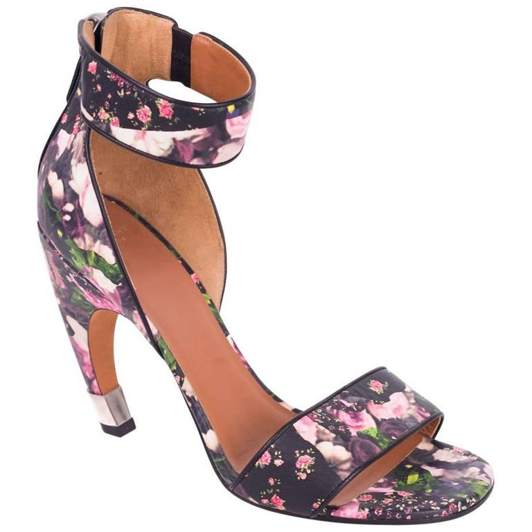 Givenchy Leather Floral Curved Heel D'Orsay Sandals
