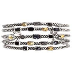David Yurman Wide Five Row Confetti Cuff Bracelet with Dust Bag