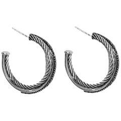 David Yurman Sterling & Black Diamond Medium Crossover Hoop Earrings