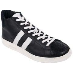 Bikkembergs Men's Black Leather Bounce 699 Mid Sneakers