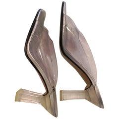 1990s Stuart Weitzman Clear Heel/Upper Sandal