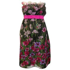 1990s Anna Sui Strapless Floral Dress with Ribbon