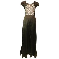 Black Full Length Dress with Lace Paneling, 1950s