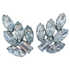 1950's Weiss Clear Rinestone and Silver Toned Clip-on Earrings