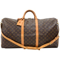 Louis Vuitton Vintage Keepall 60 Bandouliere Monogram Duffel Travel Bag + Strap