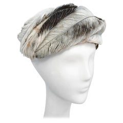 1950's White and Brown Feather Hat