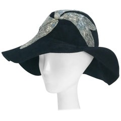 Black and Silver Appliqué wide brimmed hat, 1970s