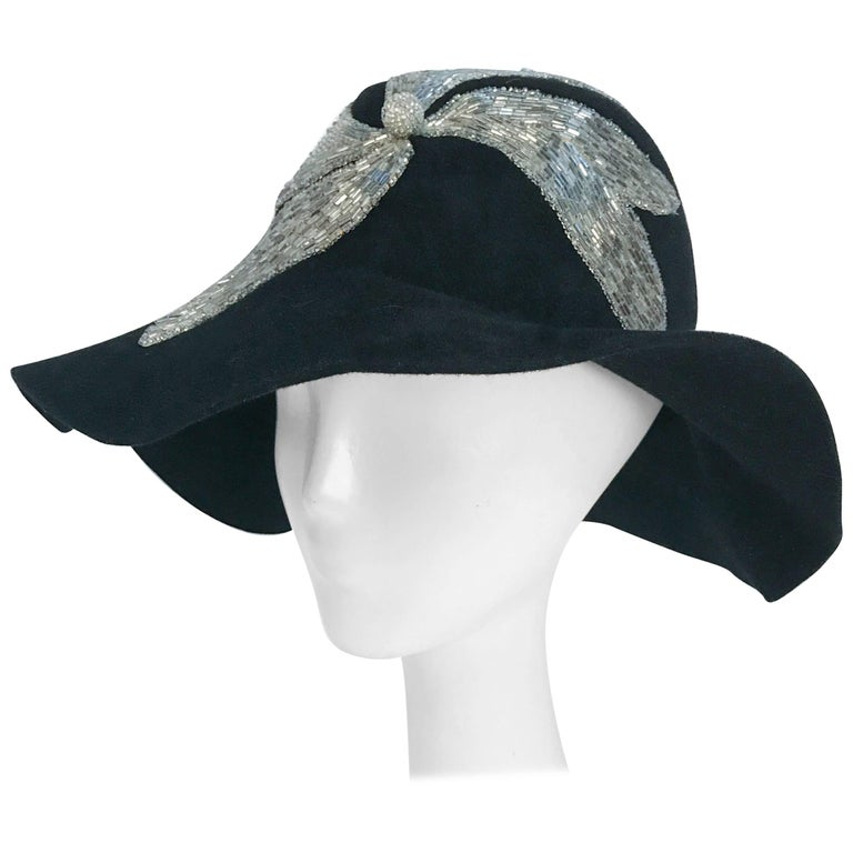 Black and Silver Appliqué wide brimmed hat, 1970s  For Sale