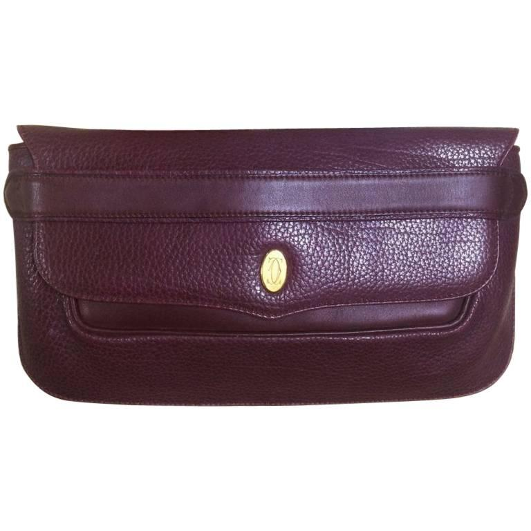 Cartier Vintage Must De Cartier Leather Wine Color Clutch With Gold Tone Charm P4f9UQ1zn