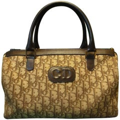 Christian Dior Vintage brown trotter jacquard handbag with CD and ECLAIR zipper