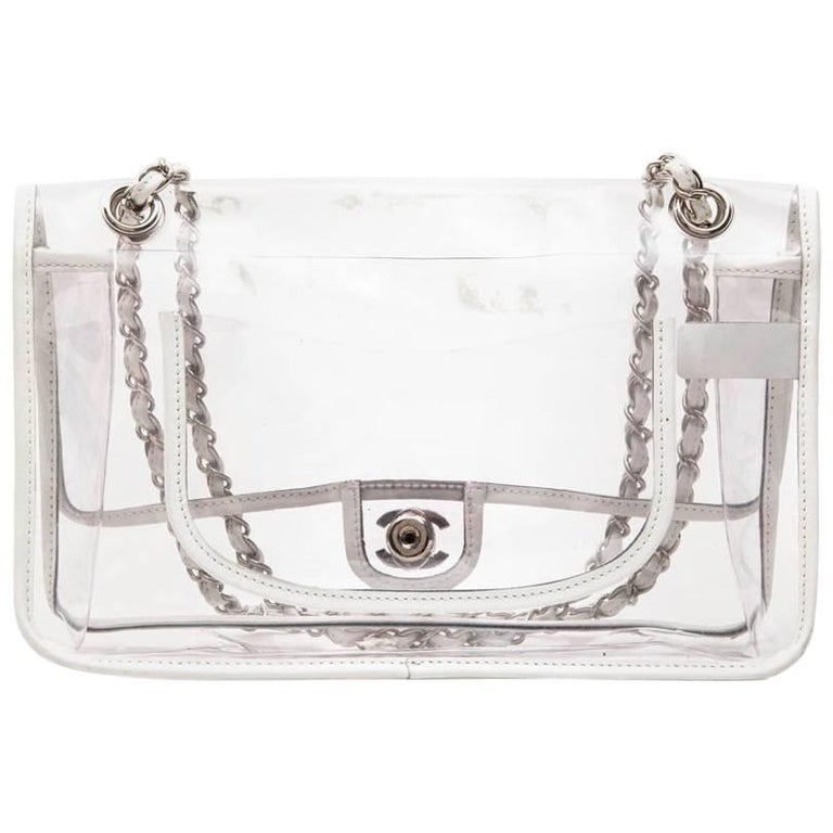 4d5784eed974 Chanel Timeless Bag in Transparent Plastic and Piping in White Lamb Leather  For Sale