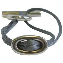 HERMES Bracelet 'Skipper' Model in Sterling Silver Ag925 and Gray Silk Thread
